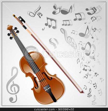 Violin. Musical background stock vector clipart, Background with a violin and musical notes. Vector illustration by Vladimir Gladcov