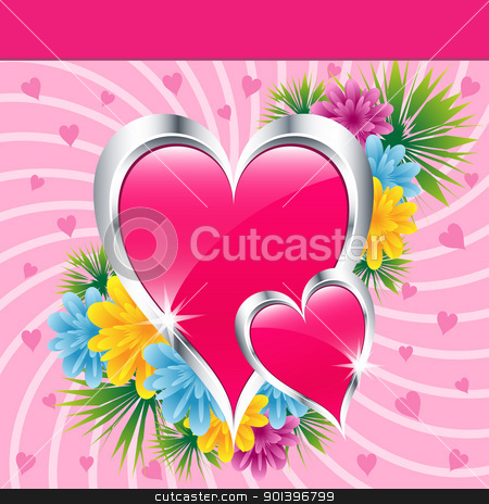 Pink love hearts and flowers stock vector clipart, Pink love hearts and flowers symbolizing valentines day, mothers day or wedding anniversary. Copy space for text. by toots77
