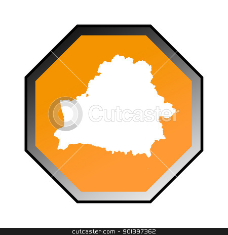Belarus road sign stock photo, Belarus road sign isolated on a white background. by Martin Crowdy