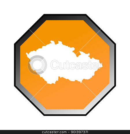Czech Republic road sign  stock photo, Czech Republic road sign isolated on a white background. by Martin Crowdy