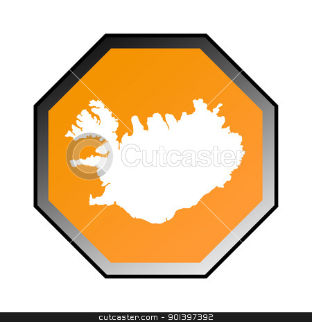 Iceland road sign stock photo, Iceland road sign isolated on a white background. by Martin Crowdy