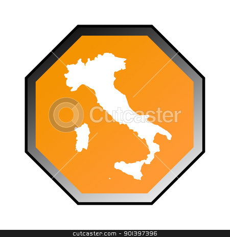 Italy road sign  stock photo, Italy road sign isolated on a white background. by Martin Crowdy