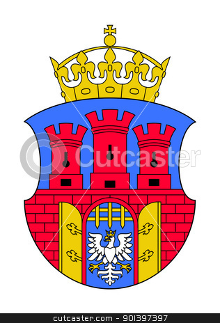 Krakow city coat of arms stock photo, Krakow city coat of arms; isolated on white background. by Martin Crowdy