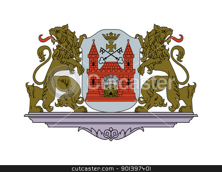 Riga coat of arms stock photo, Riga coat of arms; isolated on white background. by Martin Crowdy