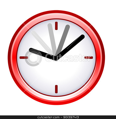 Time ticking by on red clock stock photo, Time ticking by on red clock; isolated on white background. by Martin Crowdy
