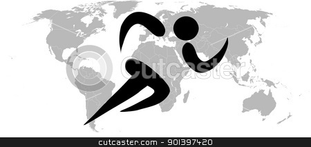 Black silhouetted world runner atheltics sign stock photo, Black silhouetted world runner atheltics sign on white background. by Martin Crowdy