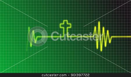 faith stock photo, ecg curve with christian cross by J?