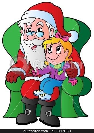 Santa Claus and small girl stock vector clipart, Santa Claus and small girl - vector illustration. by Klara Viskova