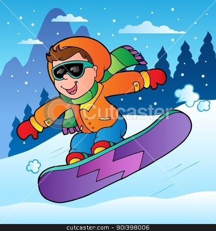Winter scene with boy on snowboard stock vector clipart, Winter scene with boy on snowboard - vector illustration. by Klara Viskova