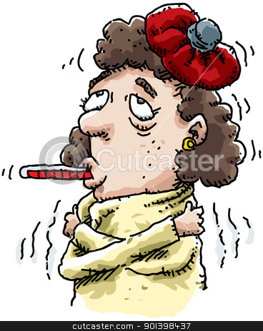 Sick Woman stock photo, A cartoon of a sick woman with a thermometer in her mouth. by Brett Lamb