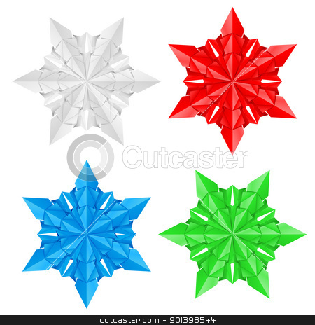 Four colorful paper snowflakes stock photo, Four colorful paper snowflakes on a white background illustration designer by dvarg