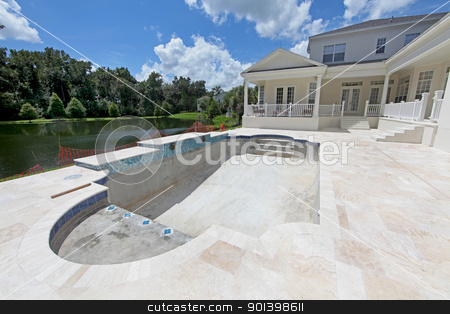 Pool Construction stock photo, A Swimming Pool under construction in Florida by Lucy Clark
