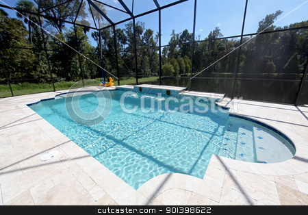 Swimming Pool with Lake View stock photo, A new Swimming Pool with Lake View in Florida by Lucy Clark