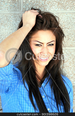 Dark exotic female beauty. stock photo, Dark exotic female beauty expressions outdoors. by OSCAR Williams