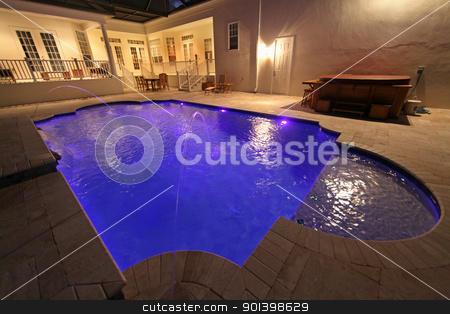 Pool at Night stock photo, A Swimming Pool lit up a night by Lucy Clark