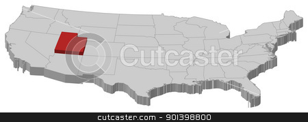 Map of the United States, Utah highlighted stock vector clipart, Political map of United States with the several states where Utah is highlighted. by Schwabenblitz