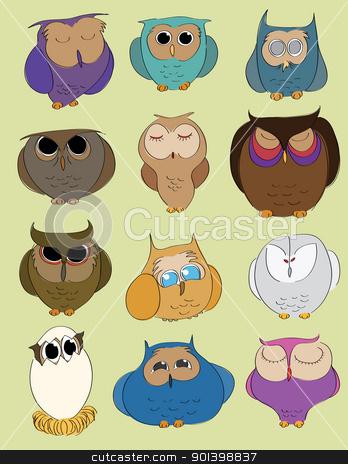 owlset stock vector clipart, Twelve hand drawn owls set. Vector image. by wingedcats