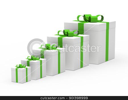 christmas gift box white green ribbon stock photo, 3d christmas gift box white green ribbon by d3images