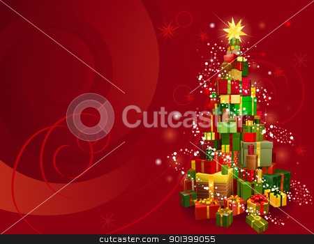 Red Christmas background stock vector clipart, Red Christmas gift tree background with snowflakes and swirls by Christos Georghiou