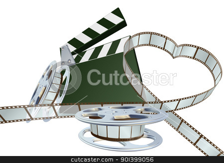 Film lover concept stock vector clipart, Film strip forming heart shape with clapper board and reels. Space for copy in the centre. by Christos Georghiou