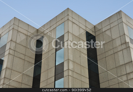 modern building facade corners stock photo, Modern building marble and glass facade corners abstract architecture background. by sirylok