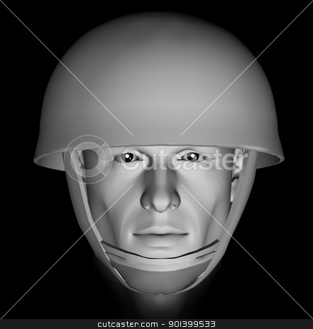 unknown soldier stock photo, Male soldier head portrait with dramatic light on black background. 3d illustration. by sirylok