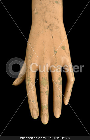weathered doll hand stock photo, Weathered plastic hand and peeling paint fingers of mannequin doll. by sirylok