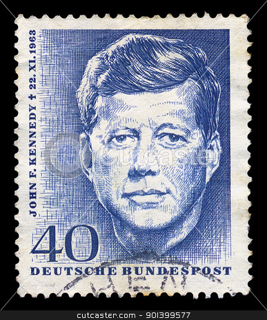 jfk postage stamp stock photo, GERMANY - CIRCA 1964. Vintage postage stamp memorializes John F. Kennedy, circa 1964. by sirylok