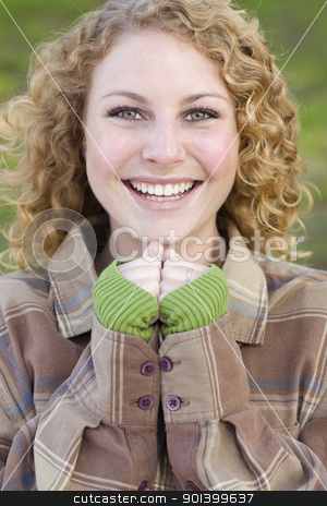 Pretty Young Smiling Woman Portrait stock photo, Pretty Young Smiling Woman Outdoor Portrait. by Andy Dean