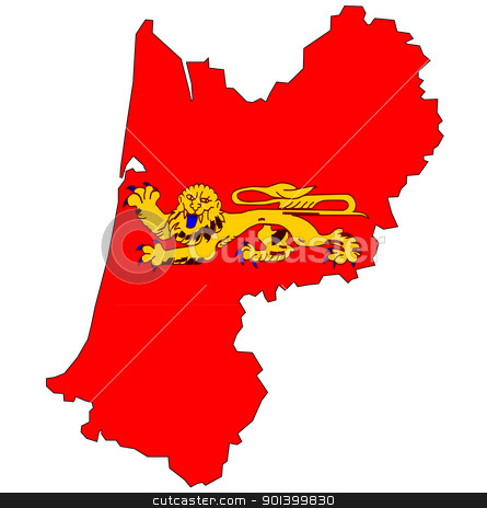 map with flag of aquitaine stock photo, old map with flag of department, administrative region of france called aquitaine by michal812