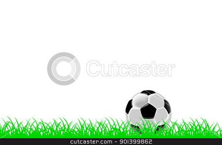 Black and white soccer ball or football on grass stock photo, Black and white soccer ball or football on green grass, white background by Harry Huber