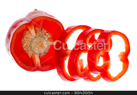 Red pepper stock photo, Red pepper on white background close up isolated on white background. by Homydesign