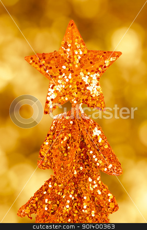 Sequin christmas tree stock photo, Sequin christmas tree with golden star on top over defocussed lights in the background. by Homydesign