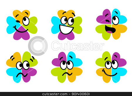 Cute colorful four leaf clover collection isolated on white stock vector clipart, Vector collection of colorful four leaf clover  by BEEANDGLOW