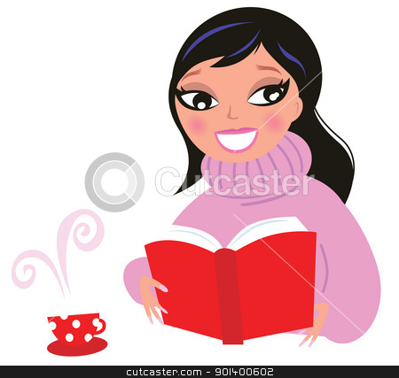 Beautiful Woman reading book from red library isolate on white stock vector clipart, Woman reading or studying book. Vector Illustration.  by BEEANDGLOW