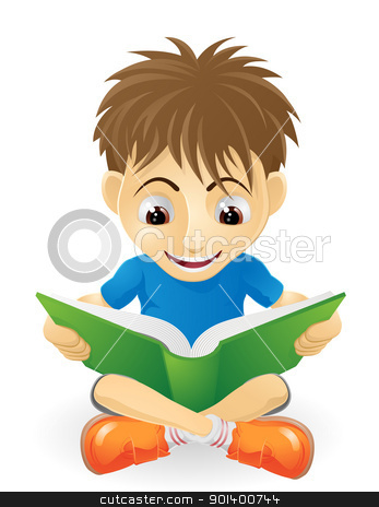 Happy young boy reading stock vector clipart, An illustration of a happy small boy smiling and reading a book by Christos Georghiou