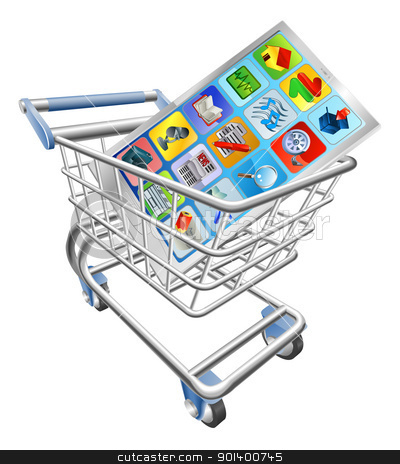 Phone in shopping cart stock vector clipart, An illustration of a smart mobile phone or tablet PC in shopping cart trolley  by Christos Georghiou