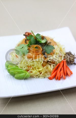 Rice noodles stock photo, Spicy Indian style vegetable rice noodle dish by Sreedhar Yedlapati