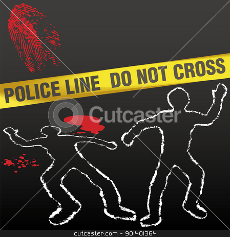 Crime scene tape corpse chalk outline stock vector clipart, Crime scene with police tape corpse chalk outlines and bloody fingerprint by Michael Brown