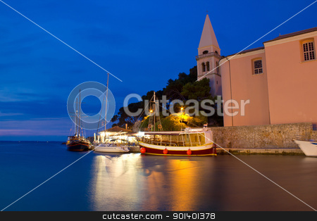 Town of Veli Losinj church and harbour stock photo, Town of Veli Losinj church and harbour at blue hour, Croatia by xbrchx