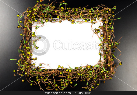 Christmas frame decoration  stock photo, Christmas frame branches decoration on black background. by Homydesign