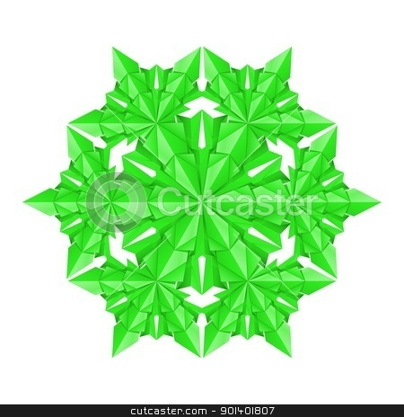 Green paper snowflake stock photo, Green paper snowflake on a white background by dvarg