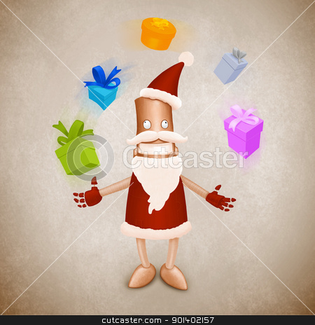 Santa Claus robot juggler stock photo, Robot in Santa Claus's dress make juggler with gift by Giordano Aita