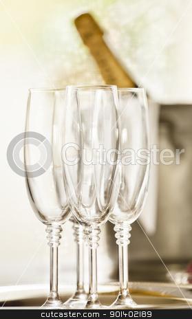 Shinny Glasses of Champagne stock photo, Close up photograph of champagne glasses by mpessaris