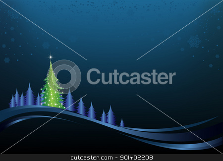 Christmas Night stock vector clipart, This image is a vector file representing a christmas holiday card, and all the elements can be scaled to any size without loss of resolution. by Bagiuiani Kostas