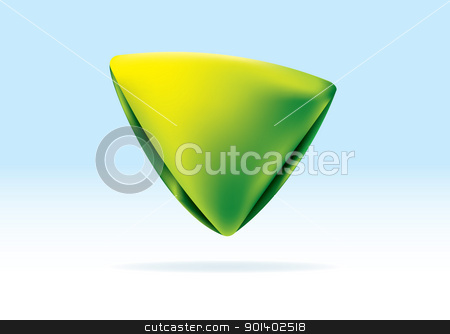 Organic green triangle stock vector clipart, Green and yellow organic triangle icon with shadow background by Michael Travers
