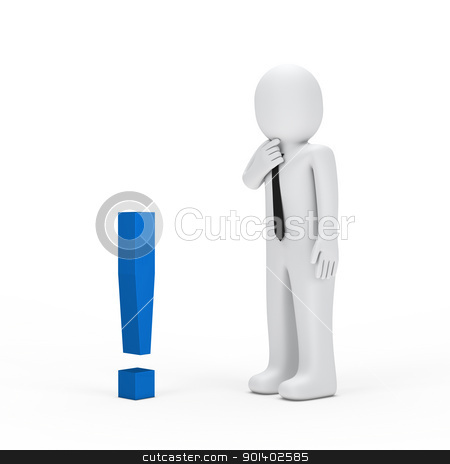 businessman small blue exclamation mark stock photo, 3d businessman for small blue exclamation mark by d3images
