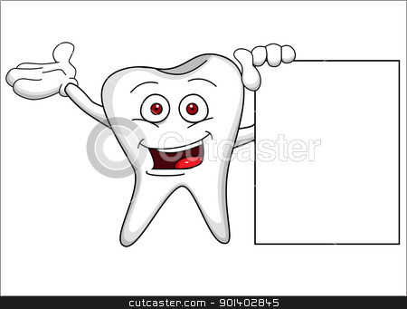 Funny tooth character with blank sign stock vector clipart, Vector illustration of Funny tooth character with blank sign by Surya Zaidan