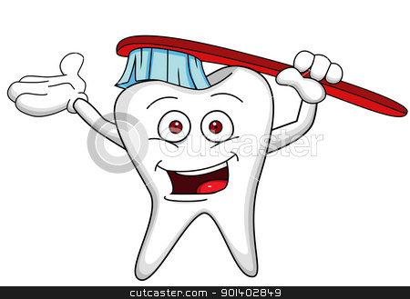 Funny tooth character with tooth brush stock vector clipart, Vector illustration of Funny tooth character with tooth brush by Surya Zaidan