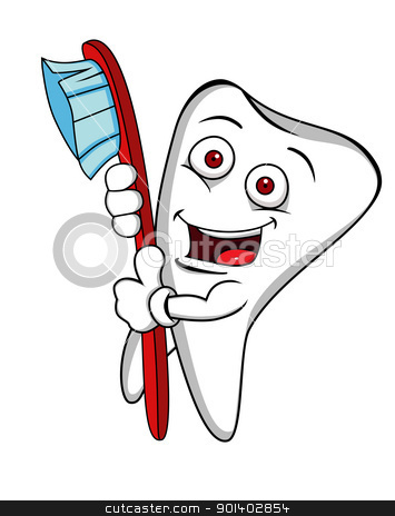 Funny tooth cartoon with tooth brush stock vector clipart, Vector illustration of Funny tooth cartoon with tooth brush by Surya Zaidan